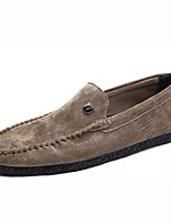 Men's Shoes Real Leather Spring Fall Moccasin Loafers & Slip-Ons Button For Casual Khaki Light Brown Gray Black