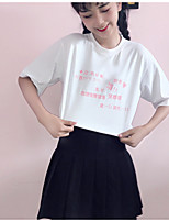 Women's Daily Cute T-shirt,Letter Round Neck Short Sleeves Cotton