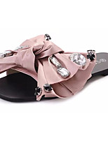 Women's Shoes Fabric Summer Comfort Slippers & Flip-Flops Walking Shoes Open Toe Bowknot For Outdoor Blushing Pink Silver Black