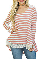 Women's Holiday Going out Sexy Street chic Spring Fall T-shirt,Striped V Neck Long Sleeves Polyester Medium