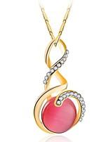 Women's Pendant Necklaces Opal Rhinestone Round Rhinestone Alloy Luxury Elegant Jewelry For Wedding Daily
