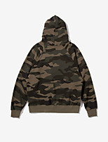 Men's Daily Hoodie Camouflage Hooded Inelastic Cotton Long Sleeve Winter