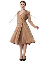 Для женщин Для вечеринок Оболочка С летящей юбкой Платье Однотонный,V-образный вырез До колена Длинный рукав Полиэстер Осень Со