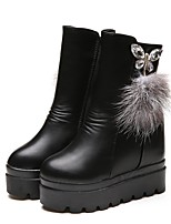 Women's Shoes PU Winter Fashion Boots Boots Wedge Heel Round Toe For Casual Party & Evening Black