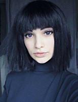 Women Human Hair Capless Wigs Yellow Black Medium Length Natural Wave Side Part