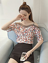 Women's Going out Simple Blouse,Floral Boat Neck Short Sleeves Cotton