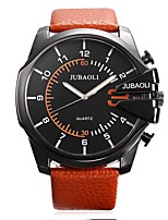 JUBAOLI Men's Sport Watch Fashion Watch Wrist watch Chinese Quartz Calendar Stopwatch Large Dial Leather Band Cool Casual Black Brown