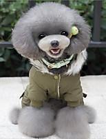 Dog Clothes Casual/Daily Keep Warm Christmas Cartoon Green Khaki Costume For Pets