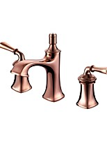 Luxury Classical Widespread High Quality with  Brass Valve Two Handles Three Holes for  Rose Gold , Bathroom Sink Faucet