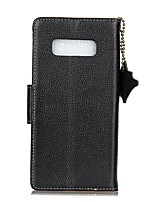 For Case Cover Card Holder Wallet Flip Full Body Case Solid Color Hard Genuine Leather for Samsung Galaxy Note 8