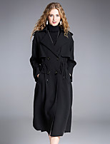 Women's Party Holiday Boho Sophisticated Winter Coat,Solid Shirt Collar ¾ Sleeve Long Polyester Spandex