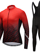 FUALRNY® Cycling Jersey with Bib Tights Men's Long Sleeves Bike Clothing Suits Reflective Strip Anti-Slip Quick Dry High Elasticity