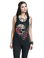 Women's Going out Sexy Summer T-shirt,Print Strap Sleeveless Polyester Opaque