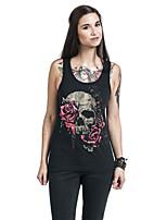 Tee-shirt Femme,Imprimé Sortie Sexy Eté Sans Manches A Bretelles Polyester Opaque