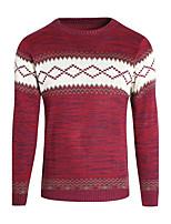 Для мужчин На каждый день Обычный Пуловер С принтом,Круглый вырез Длинный рукав Полиэстер Зима Средняя Слабоэластичная