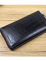 Men Bags Cowhide Wallet Zipper for Casual All Seasons Black Coffee