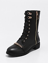 Women's Shoes Cowhide Spring Fall Comfort Combat Boots Boots Chunky Heel Round Toe Booties/Ankle Boots Zipper Lace-up For Casual Dress