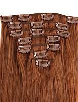 Недорогие -На клипсе Расширения человеческих волос 8шт / уп 70g / пакет Темно-рыжий Отбеливатель Blonde Средний коричневый клубничная блондинка/