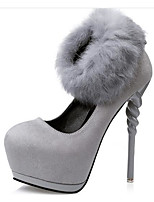 Women's Shoes Real Leather Horse Hair Spring Fall Basic Pump Heels For Casual Black Gray Burgundy