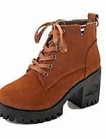 Women's Shoes Suede Fall Combat Boots Boots Chunky Heel Round Toe Lace-up For Casual Brown Black
