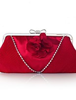 Women Bags All Seasons Silk Evening Bag Ruffles for Wedding Event/Party White Black Red Gray