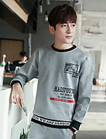 Men's Casual/Daily Sweatshirt Print Round Neck Micro-elastic Polyester Long Sleeve Fall