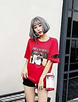 T-shirt Da donna Casual Moda città Con stampe Rotonda Cotone Manica corta