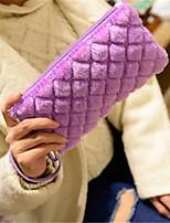 Women Bags Winter Fur Clutch Zipper for Black Beige Light Purple