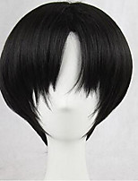 Men Synthetic Wig Capless Short Straight Black Cosplay Wig Natural Wigs Costume Wig