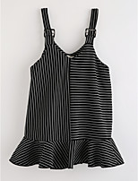 Girl's Striped Dress,Cotton Fall Sleeveless Striped Black