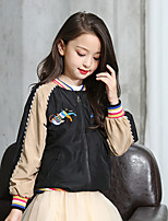 Girls' Solid Jacket & Coat,Polyester Fall Long Sleeve