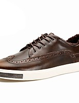Men's Shoes Cowhide Spring Fall Comfort Sneakers Lace-up For Casual Black Coffee Burgundy