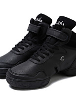 Women's Dance Sneakers Real Leather Split Sole Outdoor Customized Heel Black Customizable