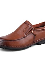Men's Shoes Cowhide Leatherette Spring Fall Comfort Loafers & Slip-Ons Split Joint For Casual Light Brown Black