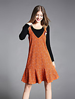 Women's Daily Going out Casual Fall T-shirt Skirt Suits,Checks Round Neck Long Sleeve Cotton Polyester Stretchy