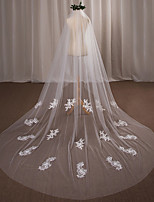 One-tier Wedding Veil Cathedral Veils With Applique Lace Tulle