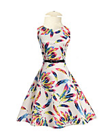 Girl's Daily Holiday Going out Solid Floral Rainbow Dress