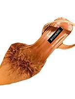 Damen Schuhe PU Frühling Herbst Leuchtende Sohlen High Heels Block Ferse Spitze Zehe Schnalle Für Normal Schwarz Beige Dunkelbraun