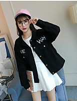 Women's Going out Simple Fall Denim Jacket,Solid Letter Stand Long Sleeve Regular Cotton