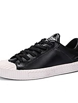 Men's Shoes Leather Spring Fall Comfort Sneakers Lace-up For Casual Black/White Pink/White Black