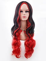 Women Synthetic Wig Capless Long Body Wave Black/Red Ombre Hair Halloween Wig Costume Wig