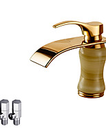 Contemporary Deck Mounted Waterfall Ceramic Valve Single Handle One Hole Ti-PVD , Bathroom Sink Faucet
