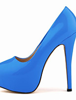 Women's Shoes PU Patent Leather Spring Fall Comfort Heels Stiletto Heel For Casual Almond Wine Blue Red Yellow