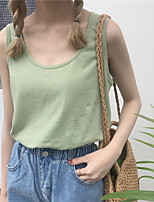 Women's Casual/Daily Simple Tank Top,Solid Round Neck Sleeveless Cotton