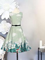 Vestido Chica de Cumpleaños Noche Vacaciones Un Color Floral Estampado Algodón Poliéster Sin Mangas Primavera Verano