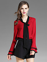 EWUS Women's Going out Casual/Daily Street chic Fall Blouse Pant SuitsSolid V Neck Long Sleeve Bow Inelastic