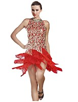 Latin Dance Women's Performance Polyester Tassel(s) Sleeveless Natural Dress
