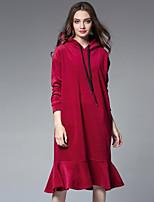 Trompette/Sirène Robe Femme Sortie Mignon,Couleur Pleine Capuche Midi Manches Longues Polyester Hiver Taille Haute Non Elastique Epais