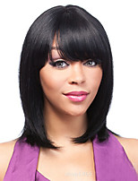 Women Synthetic Wig Capless Medium Length Straight Dark Black Side Part With Bangs Natural Wigs Costume Wig