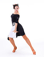 Latin Dance Women's Performance Chinlon Milk Fiber Half Sleeve Dress